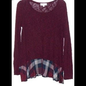 Sweaters - Anthropologie - Cloud Chaser Plaid Hem Knit Top L